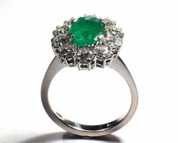 18 k White Gold with Diamonds  and Emerald    FB24