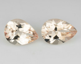 1.65 Cts natural Peach Pink morganite PAIR