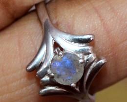 Natural Rainbow Moonstone 925 Silver Ring Size ( 8 US) 70