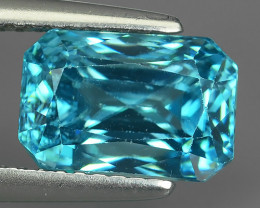 CERTIFIED~5.24 CTS WONDERFULL OCTAGON CUT BLUE ZIRCON EXCELLENT!!