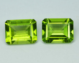 4.30 Cts Natural Parrot Green Peridot Octagon PAIR