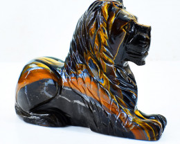 Genuine 1765.00 Cts Golden Tiger Eye Carved Lion