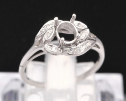 Semi Mount 5.5x4.5mm 18K Fine Jewelry White Gold G/VS Diamond Ring V81