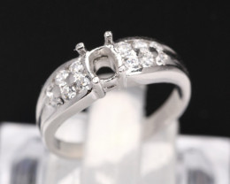 Semi Mount 6x4.5mm 18K Fine Jewelry White Gold G/VS Diamond Ring V82