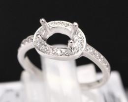 Semi Mount 7.5x5mm 18K Fine Jewelry White Gold G/VS Diamond Ring V83
