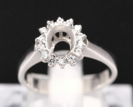 Semi Mount 7x6mm 18K Fine Jewelry White Gold G/VS Diamond Ring V84