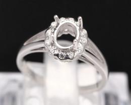 Semi Mount 6x5.5mm 18K Fine Jewelry White Gold G/VS Diamond Ring V85