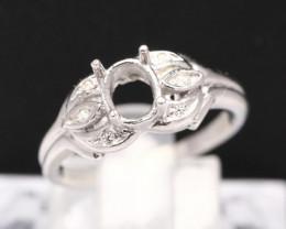 Semi Mount 6x5mm 18K Fine Jewelry White Gold G/VS Diamond Ring V86