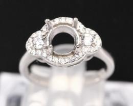 Semi Mount 6.5x6mm 18K Fine Jewelry White Gold G/VS Diamond Ring V87