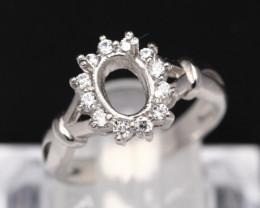Semi Mount 8x6mm 18K Fine Jewelry White Gold G/VS Diamond Ring V88