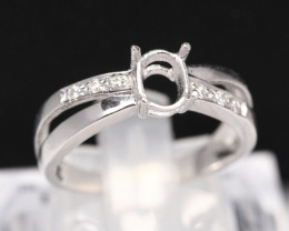 Semi Mount 6x5.5mm 18K Fine Jewelry White Gold G/VS Diamond Ring V89