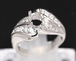 Semi Mount 6x5mm 18K Fine Jewelry White Gold G/VS Diamond Ring V90