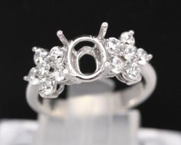 Semi Mount 8x6mm 18K Fine Jewelry White Gold G/VS Diamond Ring V93