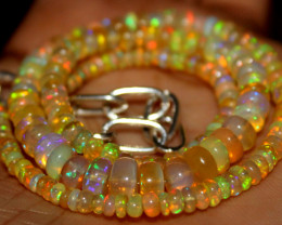 44 Crt Natural Ethiopian Welo Fire Opal Beads Necklace 71