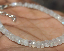 26 Crt Natural Rainbow Moonstone Faceted Beads Bracelet 59