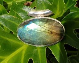 Labradorite Pendant - 925 Silver (RJ)