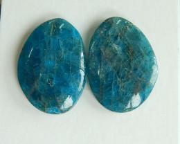 2pcs Trilliant Faceted Apatite Cabochons | Natural Apatite Cabochons B854