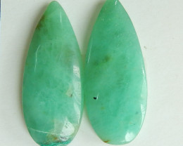 27.5Cts Natural Chrysocolla Gemstone Cbaochon Pair ,Oval Chrysocolla B830