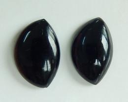2pcs Black Agate Round Cabochon Stones Flat Back Stones ,Cabochon Pairs B82