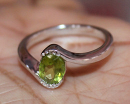 Natural Peridot 925 Sterling Silver Ring Size (8 US) 65