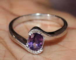 Natural Purple Amethyst 925 Sterling Silver Ring Size (9 US) 60