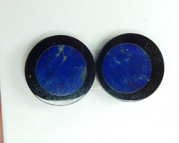 New Arrival,Round Cabochon Pair,Natural Lapis and Obsidian Intarsia Pair B8