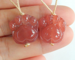 31.5cts Hand Carved Bear Paw Earring Beads ,Natural Gemstone B848