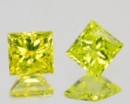 Natural Diamond Golden Yellow PAIR Princess Cut Africa 0.15 Cts