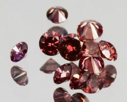 Natural Brownish Orange Diamond Round Africa 9 Pcs 0.15Cts
