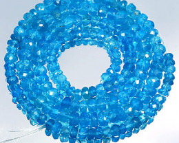 Rare Neon Blue Natural Apatite Rondelle Faceted Beads 53.72Ct
