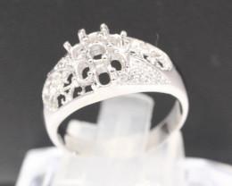 Semi Mount 4x3mm 18K Fine Jewelry White Gold G/VS Diamond Ring V120