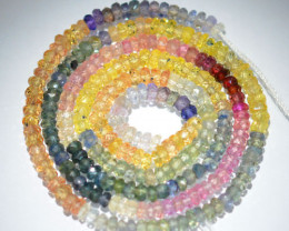 Multi Colour Natural Fancy Sapphire Rondelle Faceted Beads 37.95Ct