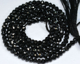 Vibrant Black Natural Spinel Rondelle Faceted Beads 26.39Ct