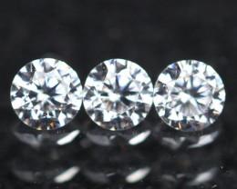 1.80mm 3Pcs D/E/F VVS Clarity Natural Brilliant Round Diamond