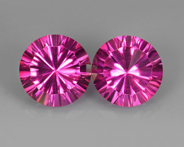 8.50 CTS WONDERFUL COLOR 10.15 MM ROUND CONCAVE ~CUT PINK TOPAZ 2 PCS NR!!