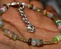 13 Crt Natural Ethiopian Welo Fire Opal & Peridot Beads Bracelet 24