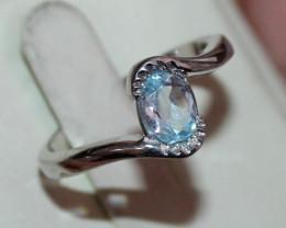 Natural Aquamarine 925 Silver Ring Size ( 8 US) 63