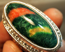 150.70CRT SOLID CORAL FOSSIL DYED CUSTOM RING