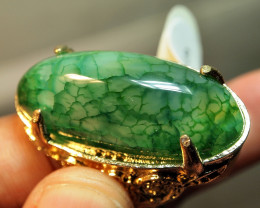 115.65CRT AMAZING CALCEDONY DRAGON SKIN CUSTOM RING
