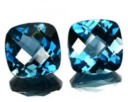 7.70 Cts Natural London Blue Topaz Checkerboard Brazil