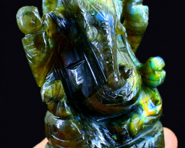 Genuine 1265.00 Cts Amazing Flash Labradorite Ganesha