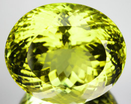 Natural Green Yellow Lemon Quartz Oval Brazil 38.22 Cts