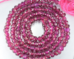Graphs Pink 39.84Ct Natural Rhodolite Rondelle Faceted Beads 33cm