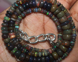 56 Crt Natural Ethiopian Welo Fire Smoked Opal Beads Necklace 40
