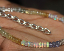 24 Crt Natural Ethiopian Opal Tanzanite Aquamarine Beads Bracelet 65