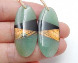 Amazonite ,Obsidian ,Labradorite Intarsia Earring Pairs ,Oval Earrings B867