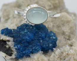 RING 925 STERLING SILVER CHALCEDONY  NATURAL GEMSTONE JE1609