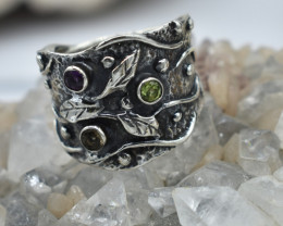 RING 925 STERLING SILVER GARNET / PERIDOT / CITRINE  NATURAL GEMSTONE JE162