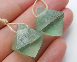 Green Fluorite Earrings ,Square Earrings ,Clear Crystal Earrings B865