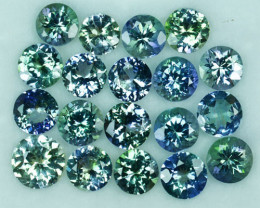 Dazzling Rare Green Blue 16.93Ct Natural Tanzanite Round 6mm Parcel